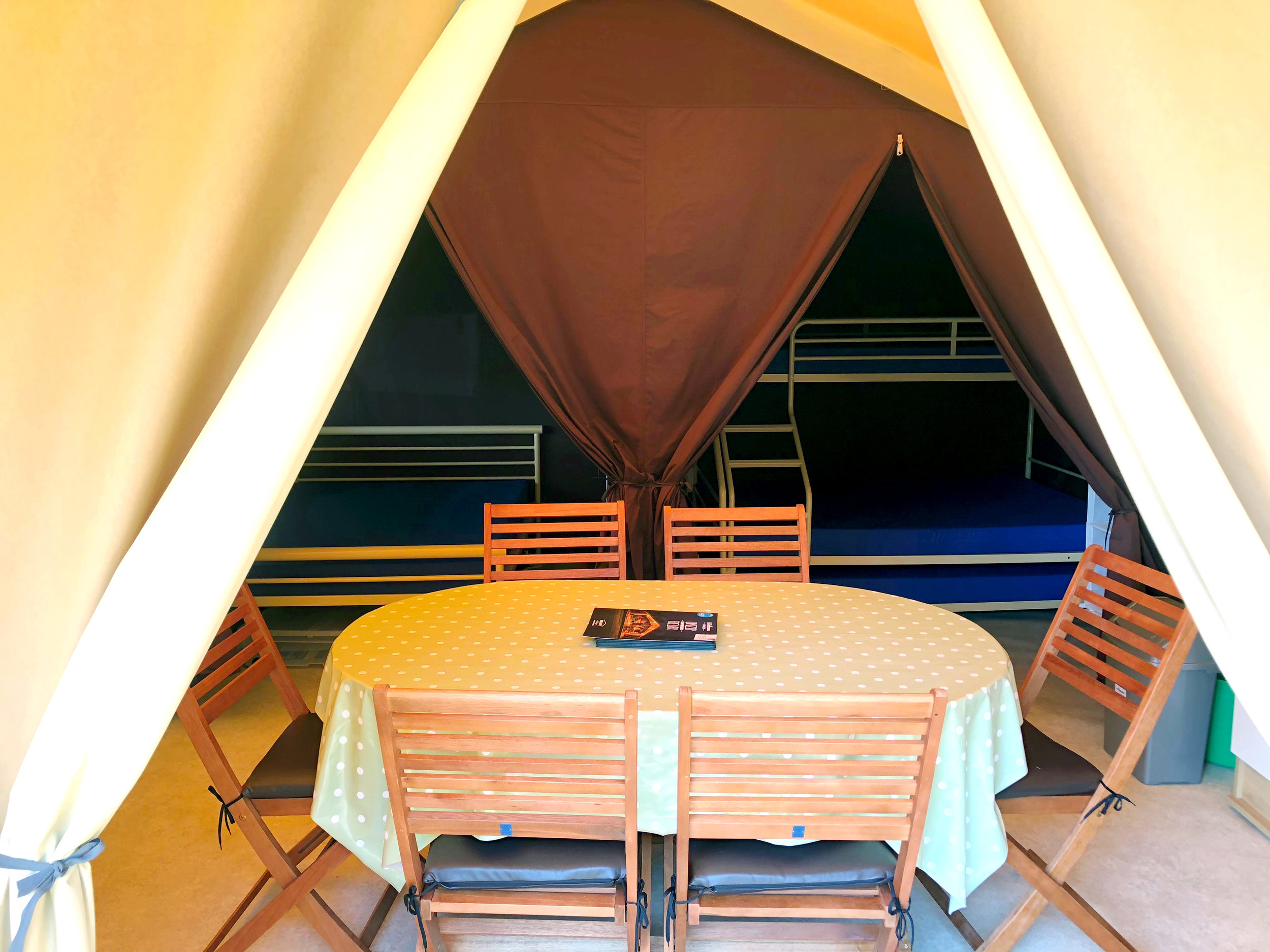 Inside the Ready Camp Eastbourne glamping tent