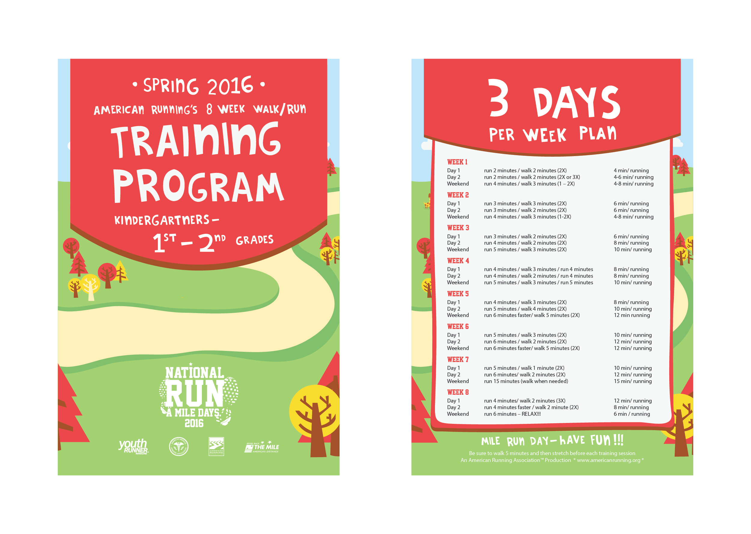 Training cards for kids to prep for the mile.
