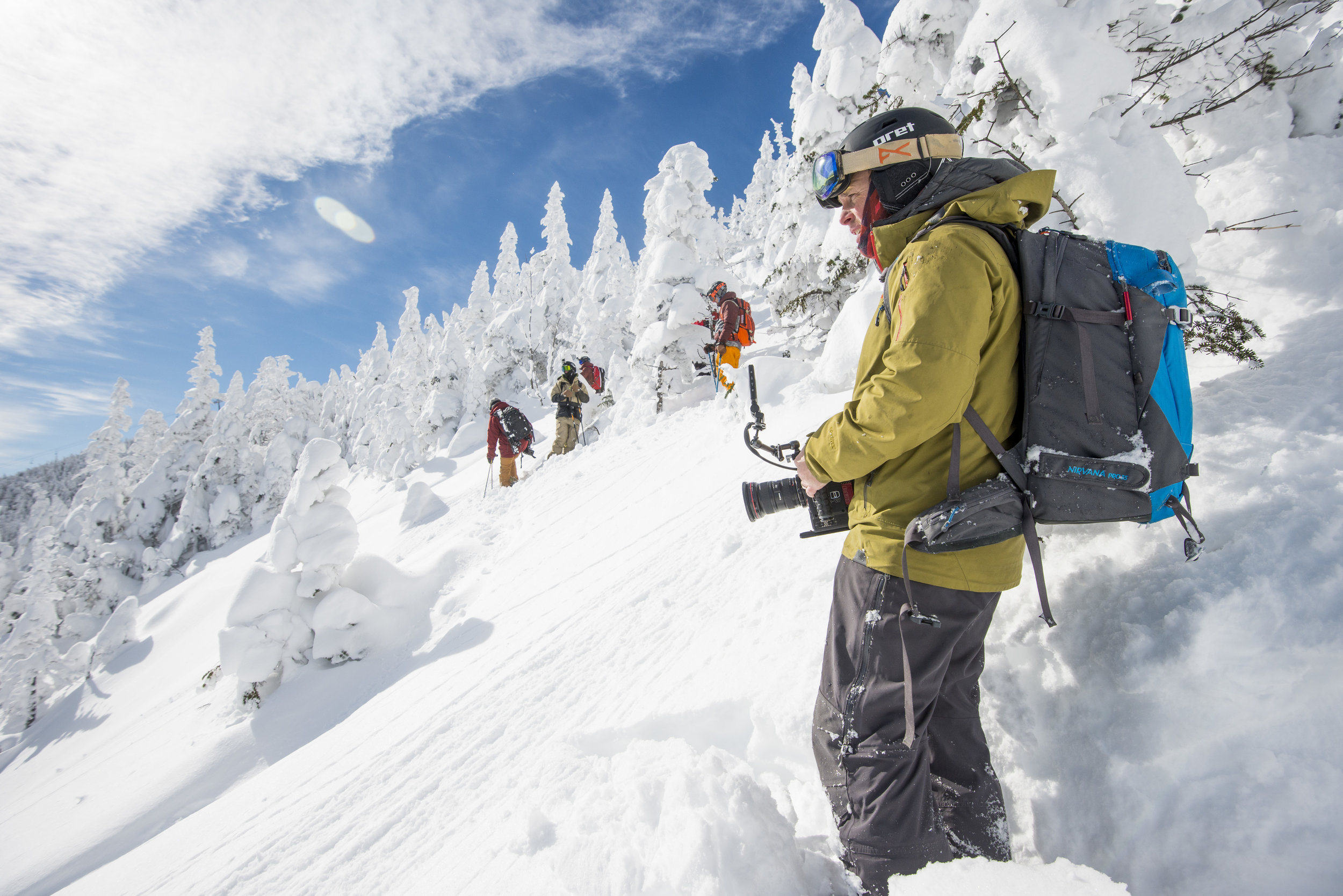 Courtesy Photo © Jake Sporn   Principal Creative Matt Kiedaisch filming for Ski The East