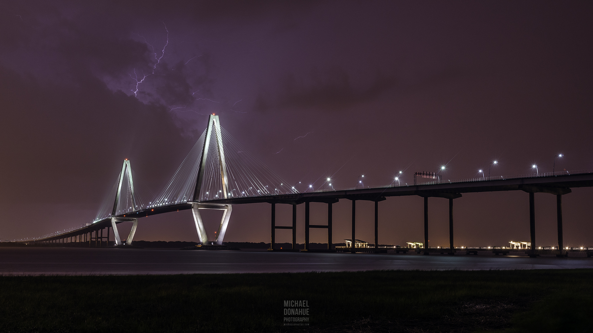 Lightning Over Arthur Ravenel Jr. Bridge by Michael Donahue