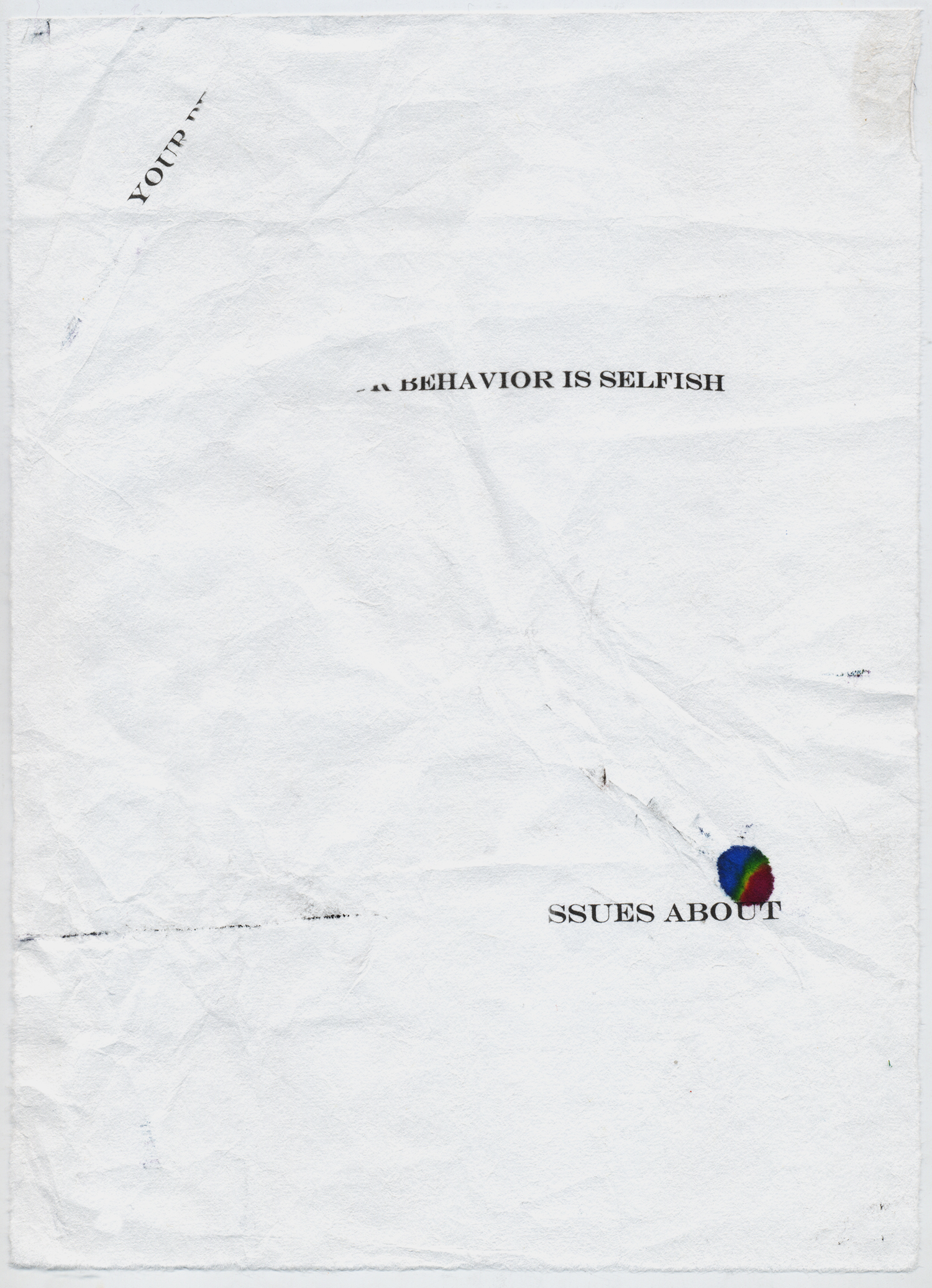 "Selfish Behavior  Digital print on mulberry, 10.75x7.75"", 2014"