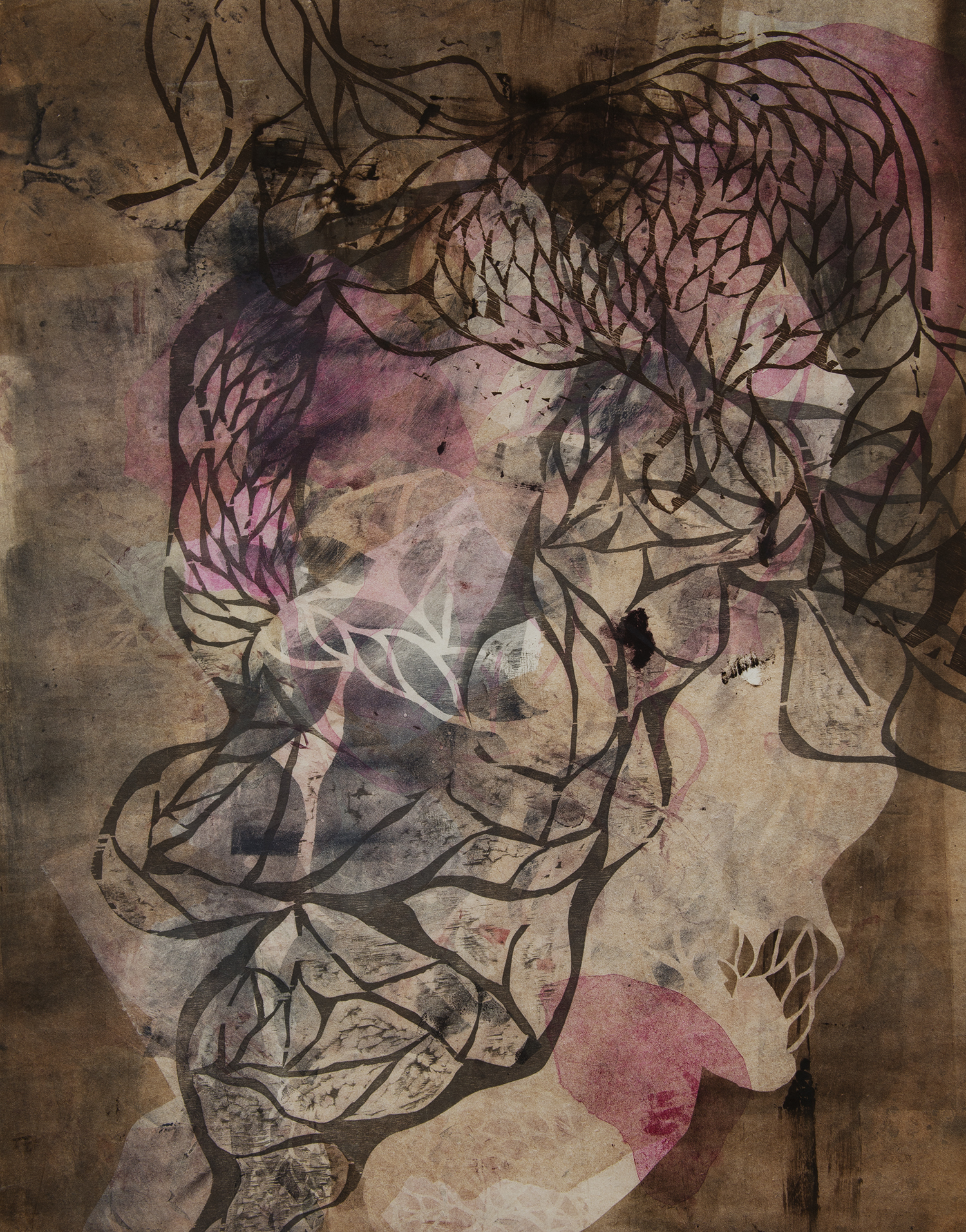 "Chew  Woodcut on paper, 34x25"", 2013"