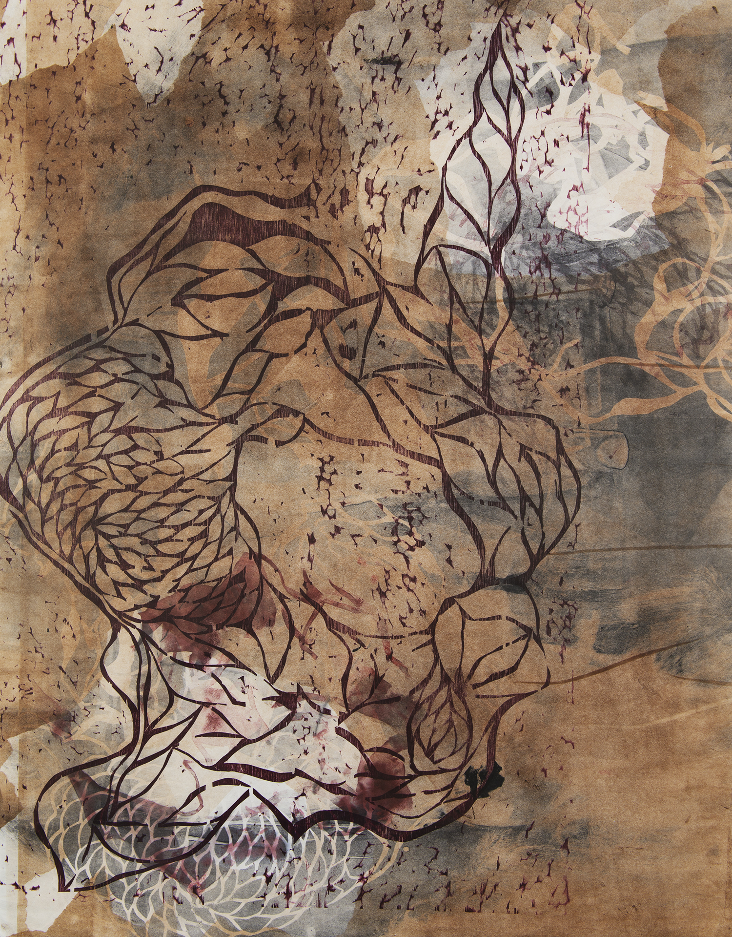 "Fishtail  Woodcut on paper, 42x36"", 2013"