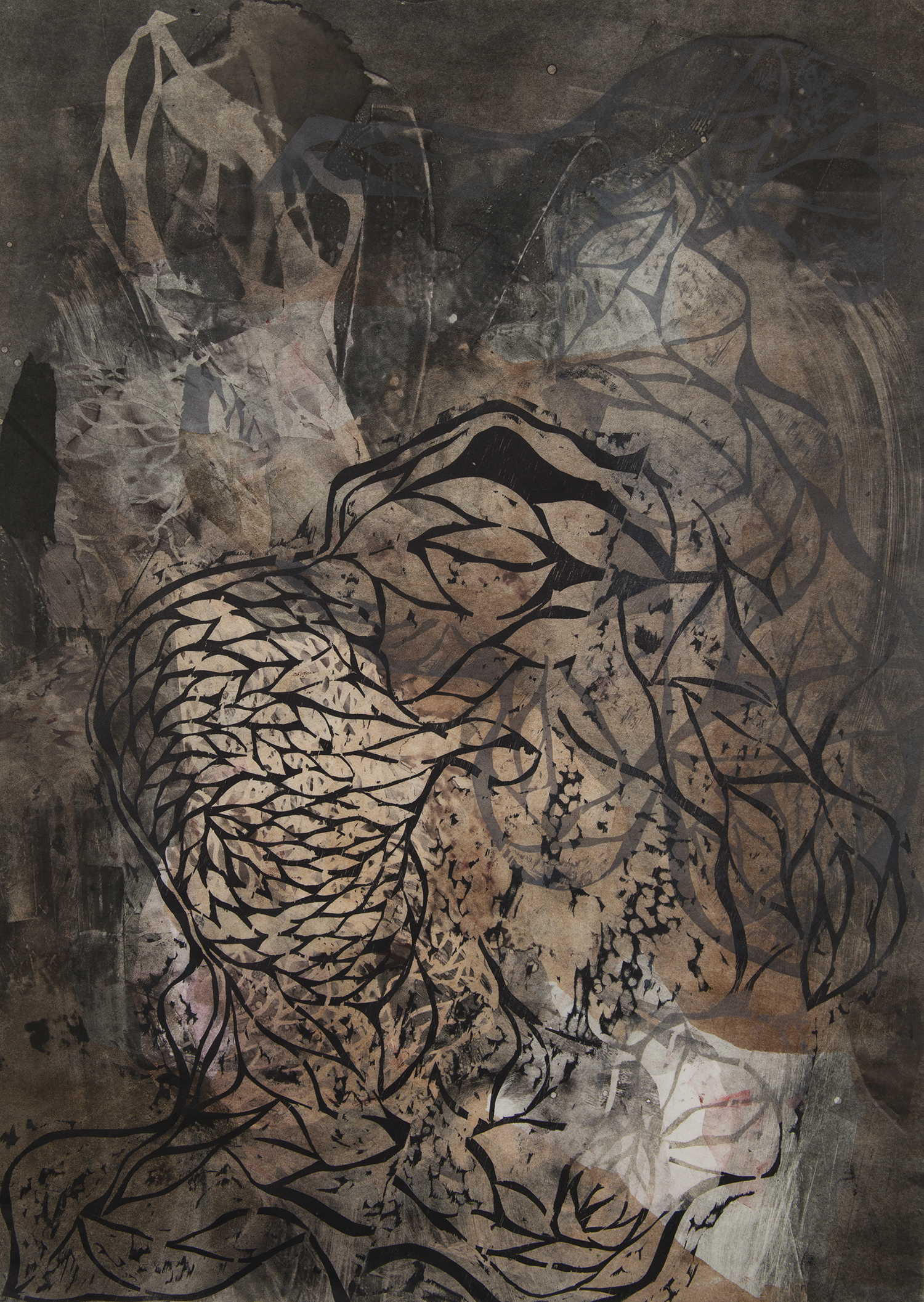 "Black Fish  Woodcut on paper, 34x24"", 2013"