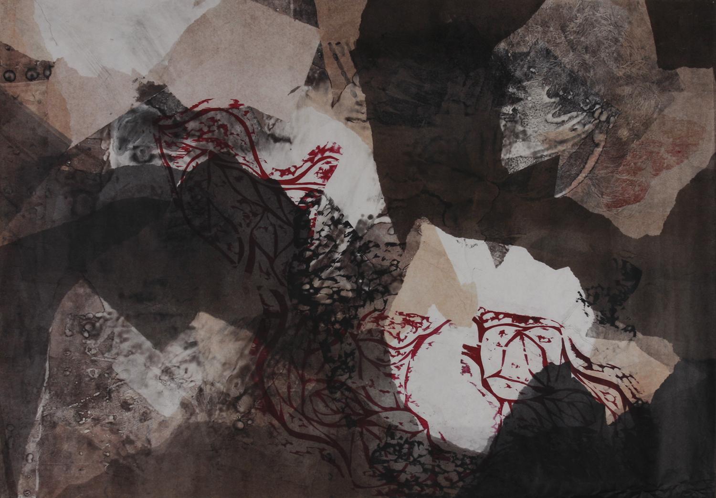 """Gun Powder Red  Woodcut on paper, 27x38.5"""", 2013"""