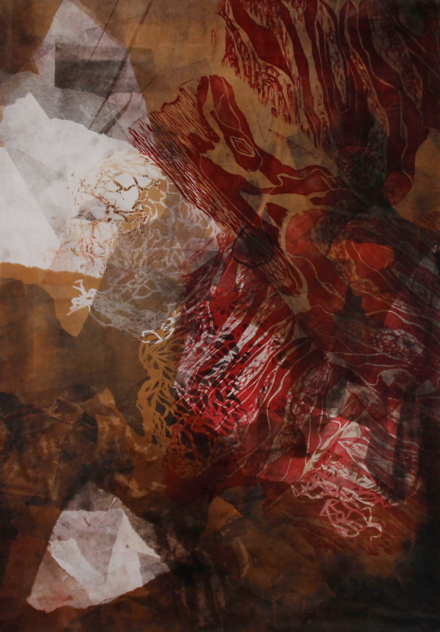 """Red Cave  Woodcut on paper, 39x27"""", 2013"""