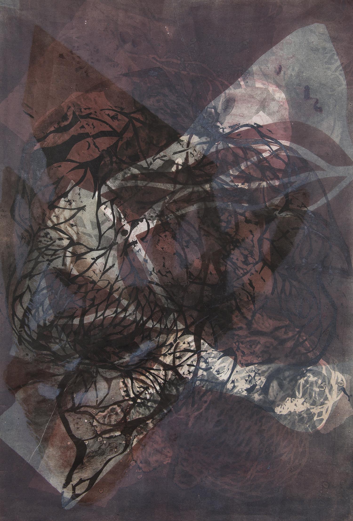 "Haze  Woodcut on paper, 30x22"", 2013"