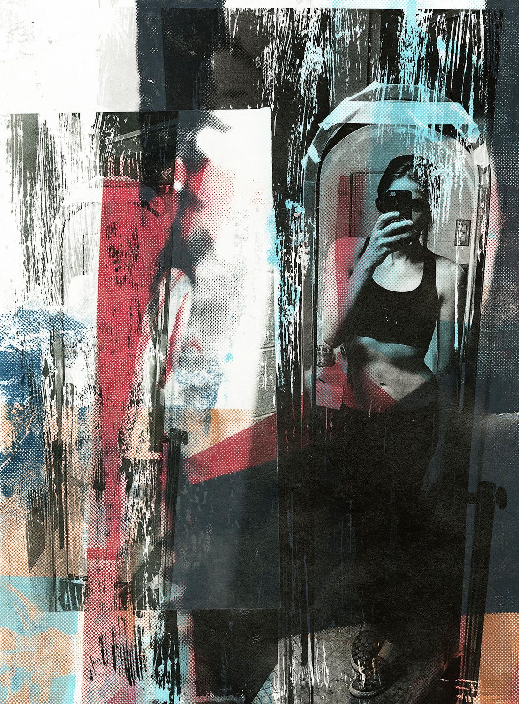 "Kelsey's Mirror Screenprint & Collage,  15x11"", 2016"