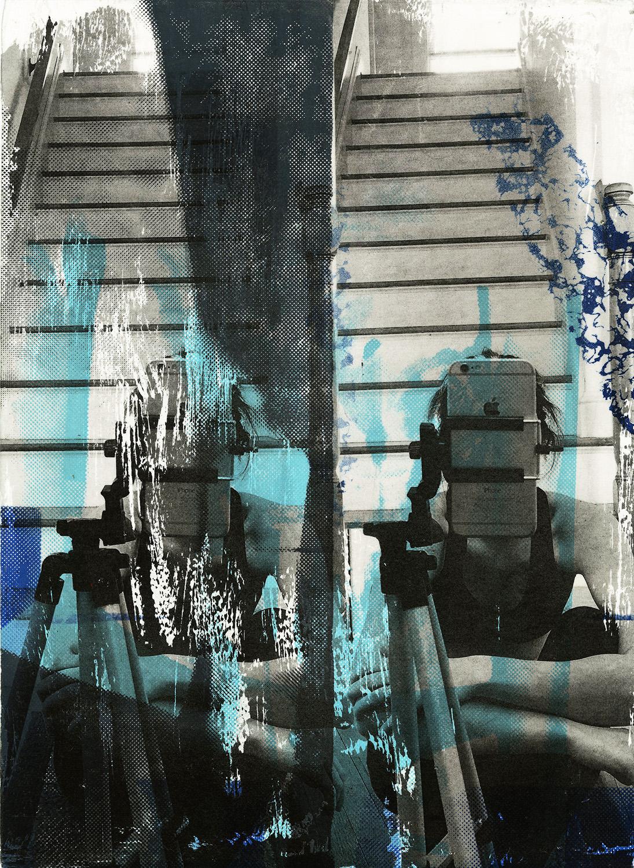 "Hide,  Screenprint & Collage , 15x11"", 2016"