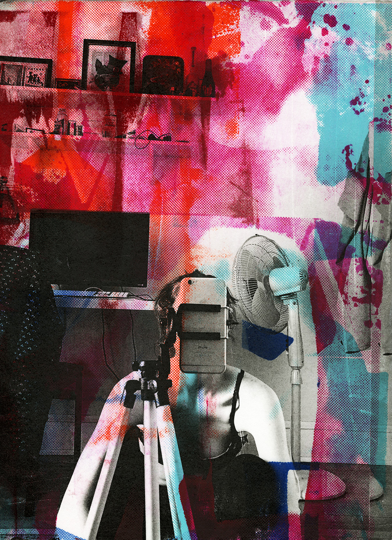 """Bryce's Fan Screenprint & Collage , 15x11"""", 2016"""