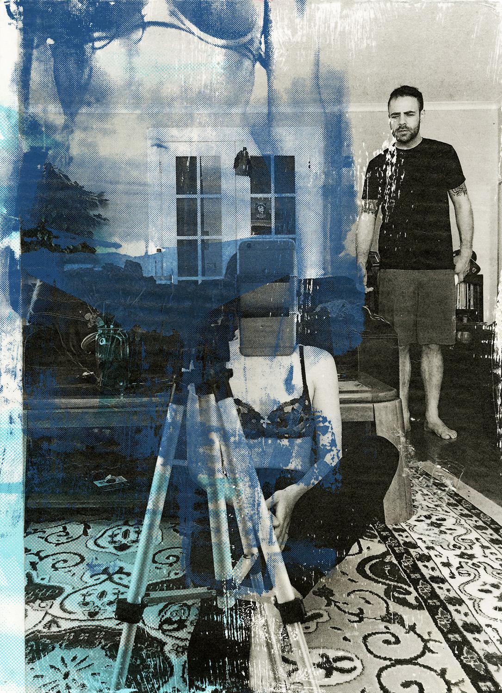 "Engaged Life Screenprint & Collage , 15x11"", 2016"