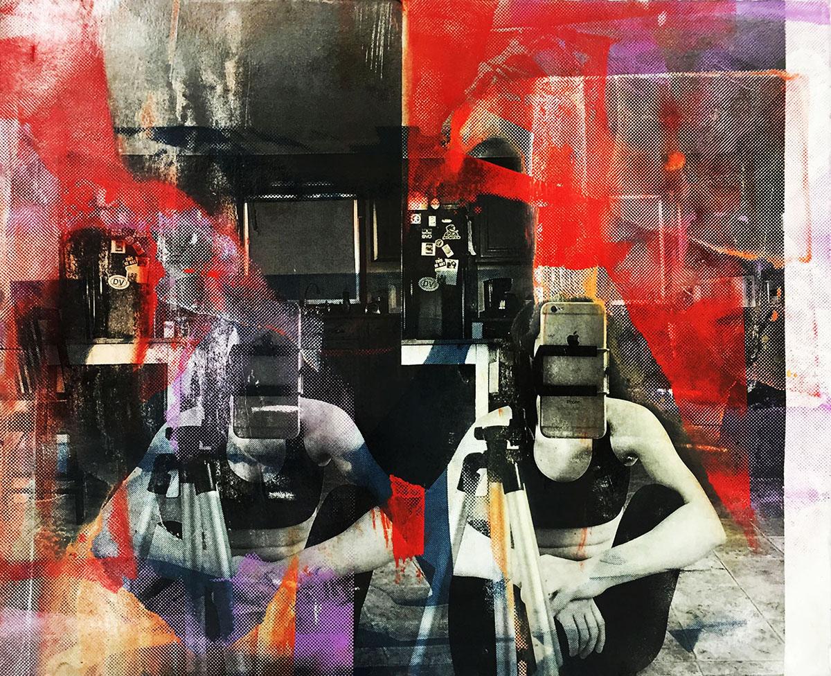 """Kitchen Screenprint & Collage , 15x18"""", 2016"""