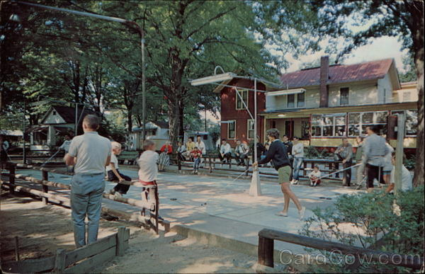 A photo from way, way back of the dining hall, horseshoes and shuffleboard tournaments.