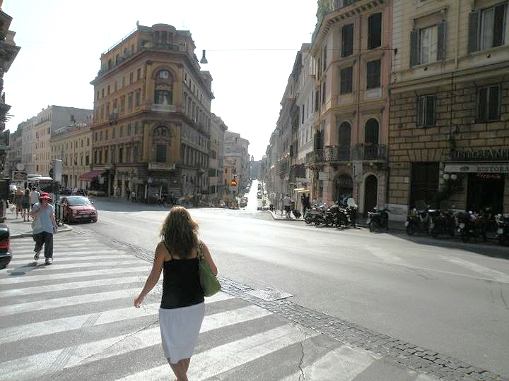 A photo of my own from Rome in 2011. (That's not me walking, BTW.)