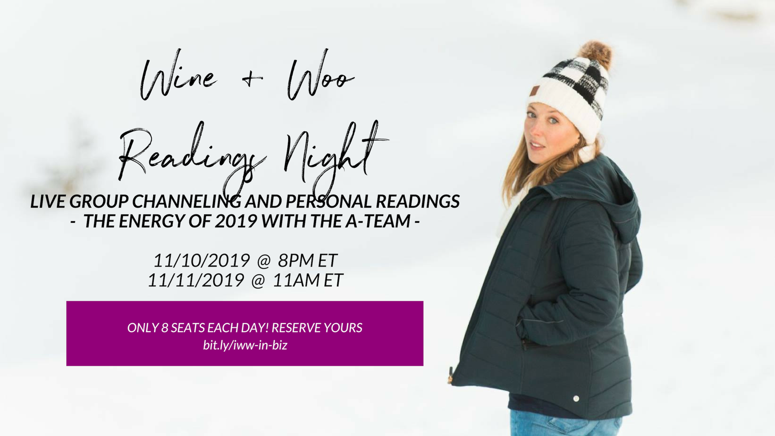 Live Channeling: Wine + Woo Night - Readings + More January 10 + 11, 2019 Click to sign up!