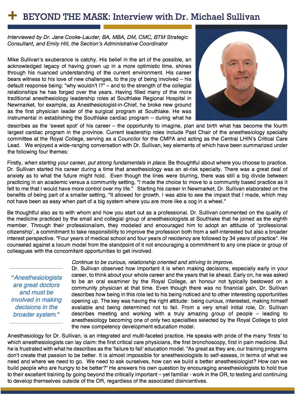 Dr. Michael Sullivan - Fall 2017 Interview