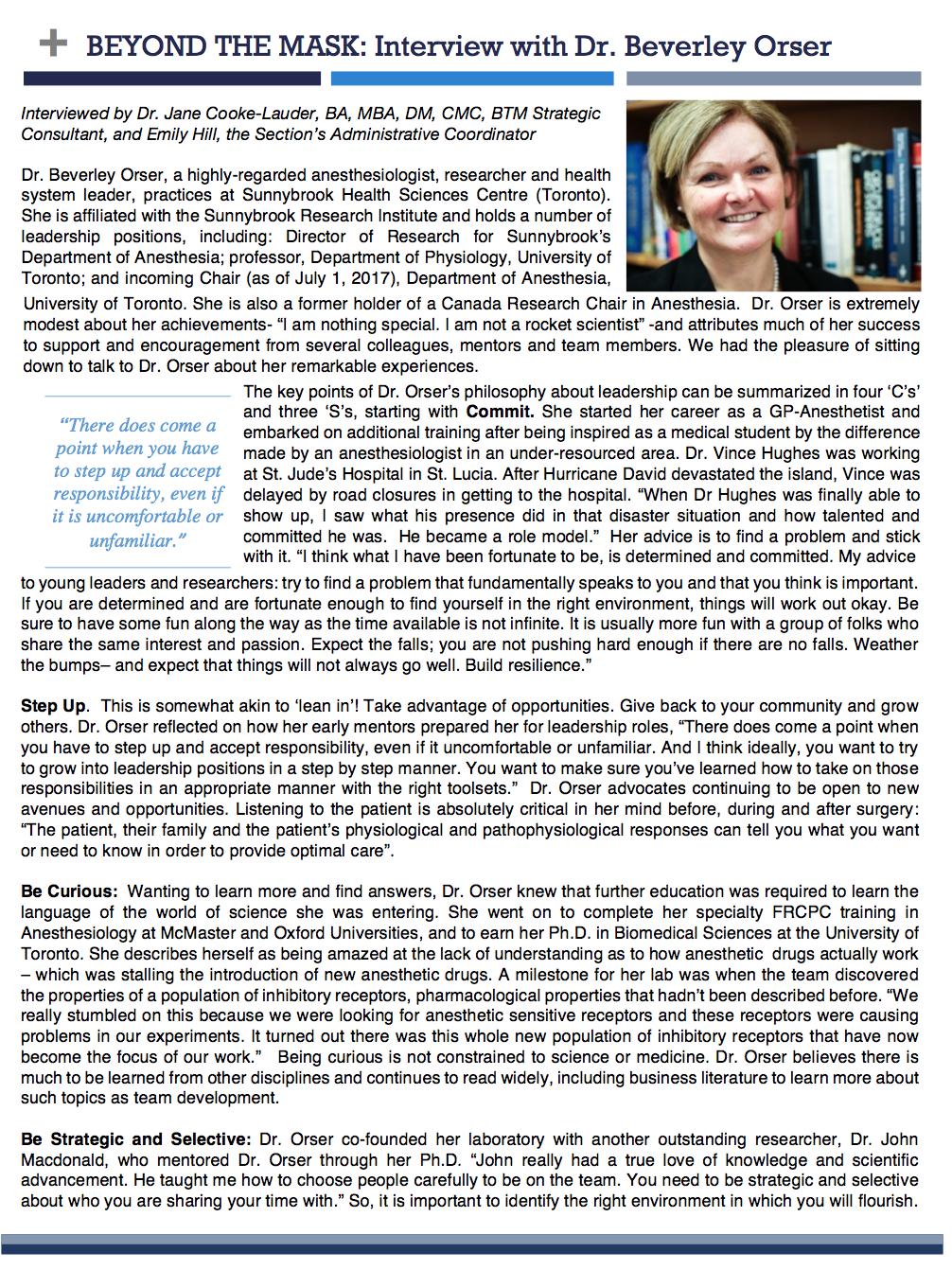 Dr. Beverley Orser - Spring 2017 Interview