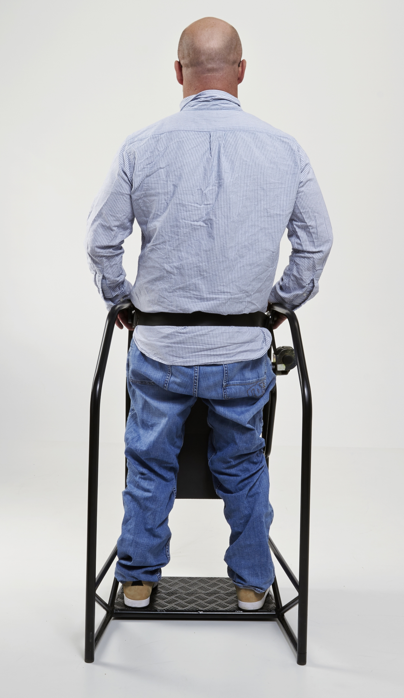 Frames are custom made, adjusted to individual user's proportions, and supplied with Mikocell knee padding as well as modified safety strap to support hips when standing. The supporting strap is adjustable and self secure.