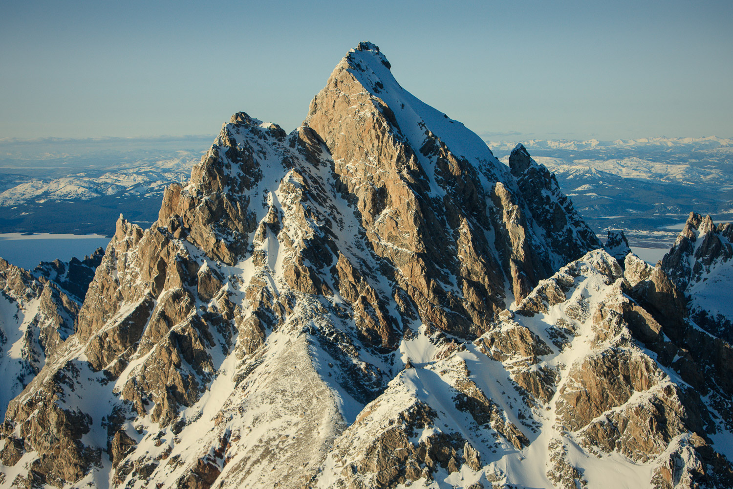 Aerial photograph of the Teton range, Grand Teton National Park, Wyoming