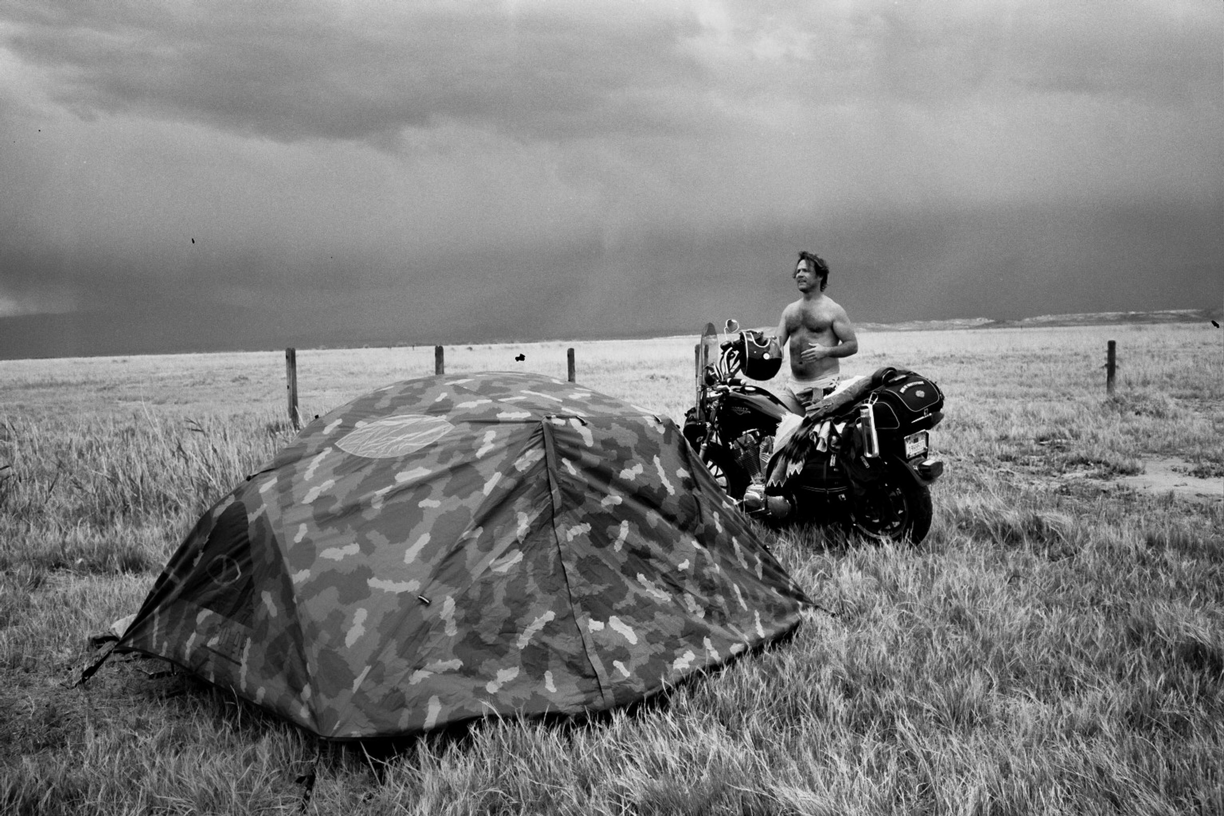 Marty Dinglewall taking cover from a storm in Meadow, Utah.