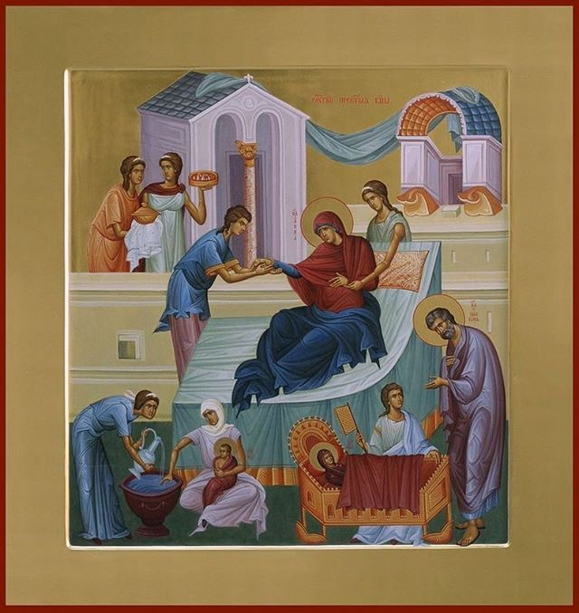 """Today the Orthodox Church of America celebrates the Nativity of the Theotokos, Mary the Mother of God. Joy of the Feast! . . """"Today is the prelude of universal joy / today the winds blow that herald salvation / and the barrenness of our nature is dispelled / for the barren woman is revealed as the mother / of her who remained a virgin after giving birth to the Creator / From her the One who is God by nature / takes what is foreign to Him and makes it His own / and works salvation through the flesh for those who have gone astray // He is Christ, the Lover of man and the Redeemer of our souls."""""""