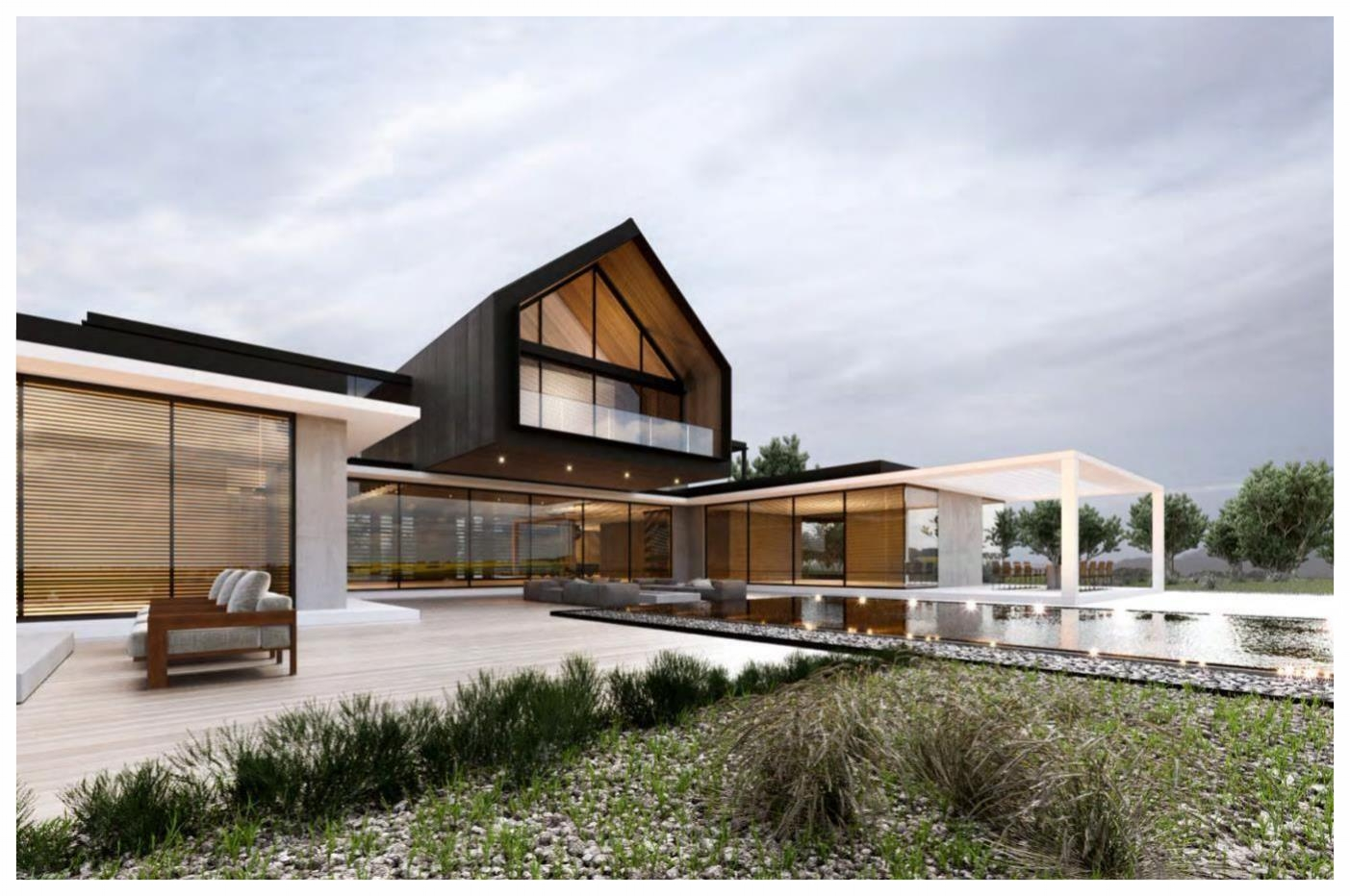 Front perspective / Rendering owned by noble design and architecture