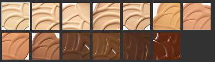 Todas as cores disponíveis da  Matchmaster .