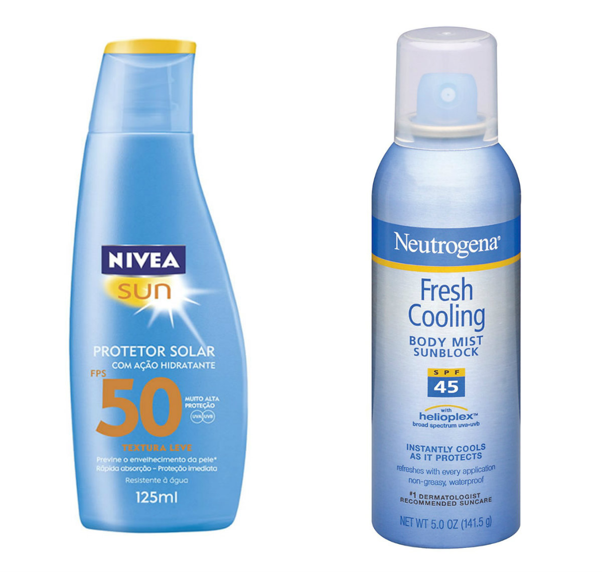 Nivea Sun FPS 50 e Spray Fresh Cooling da Neutrogena