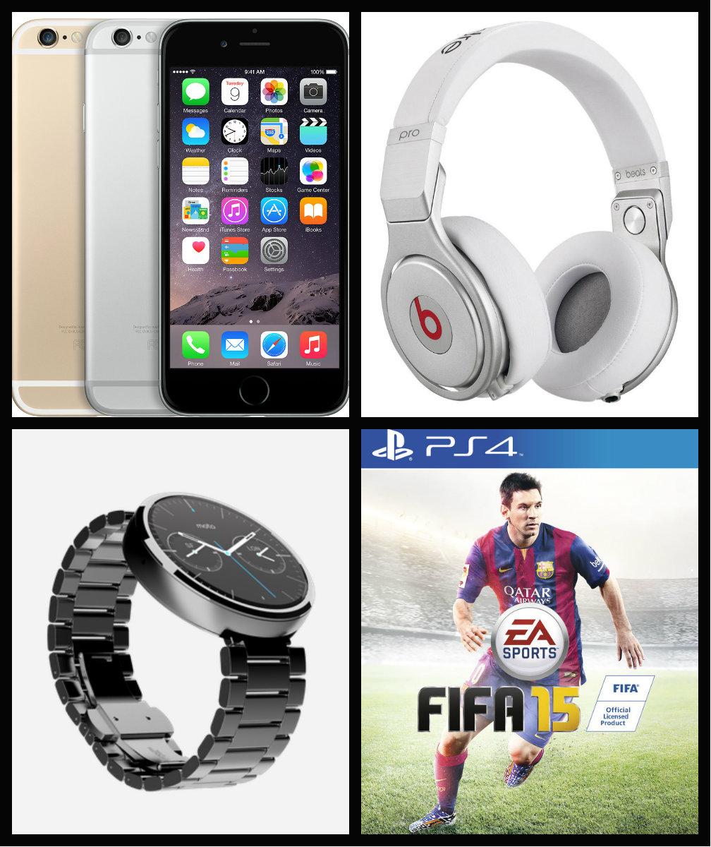 Sugestõesde presentes com tecnologia - Iphone 6 ~ Fone de ouvido Beats ~ Relógio Moto 360 ~ Jogo de video game Fifa 15.