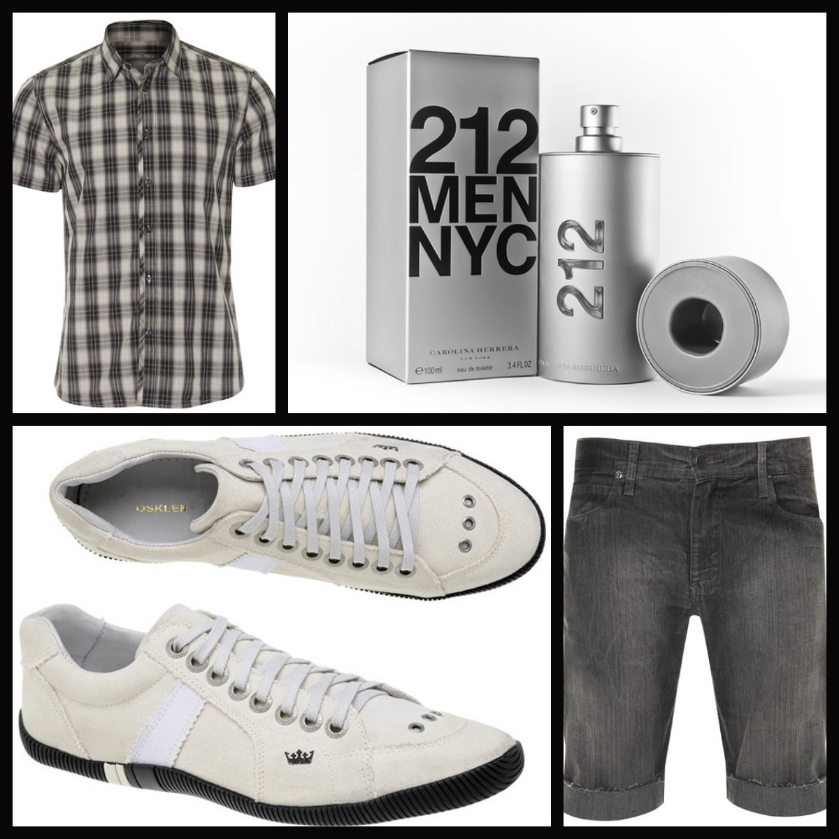 Sugestões presentes moda - Camisa C&A ~Perfume 212 Carolina Herrera ~Tênis Osklen ~Bermuda Renner.