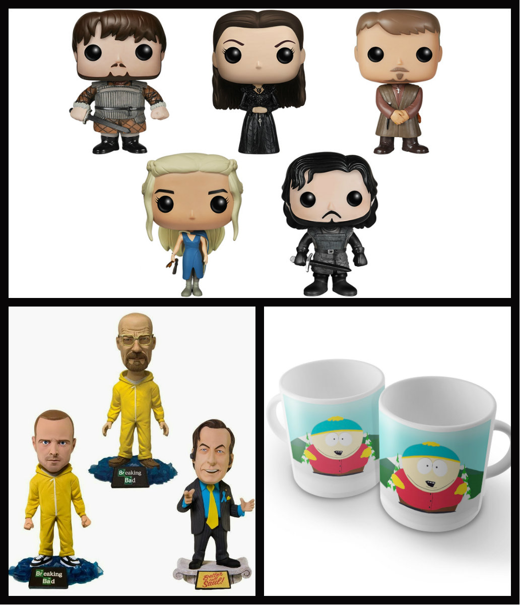 Sugestões de presentes geek - Bonecos funko colecionáveis G.O.T ~ Bonecos Colecionáveis Bobble head Breaking Bad ~ Canecas South Park.