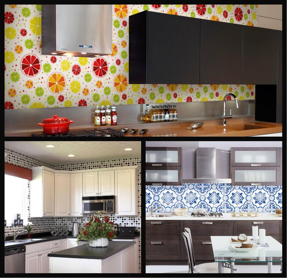 Na cozinha, os papéis de parede deixam o ambiente mais alegre e colorido.
