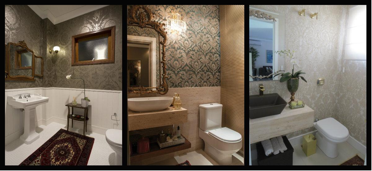 Os banheiros e lavabos ficam mais sofisticados e cheios de glamour com papéis de parede.