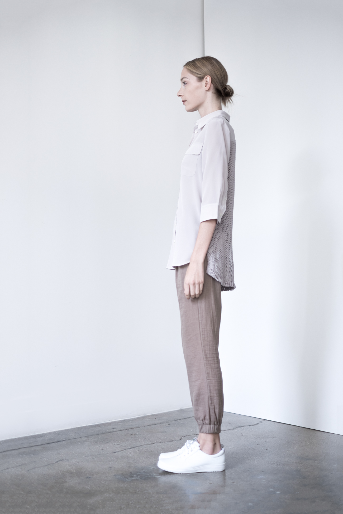 LOOK 26   TOP:   2268  / Dove   -     Jane 3/4 Sleeve silk blouse with sweater back insert.   BOTTOM:   2290  / Timber  -   Jogger pants in 100% Cotton woven dbl. layer gauze.