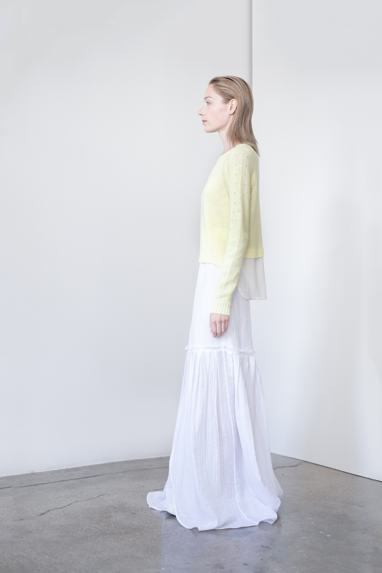 "LOOK 15   TOP:   2260  / Canary   -           0   0   2015-09-15T00:56:00Z   1   8   48   Rick Owens   1   1   55   14.0                       Normal   0             false   false   false     EN-US   JA   X-NONE                                                                                                                                                                                                                                                                                                                                                                               /* Style Definitions */ table.MsoNormalTable 	{mso-style-name:""Table Normal""; 	mso-tstyle-rowband-size:0; 	mso-tstyle-colband-size:0; 	mso-style-noshow:yes; 	mso-style-priority:99; 	mso-style-parent:""""; 	mso-padding-alt:0in 5.4pt 0in 5.4pt; 	mso-para-margin:0in; 	mso-para-margin-bottom:.0001pt; 	mso-pagination:widow-orphan; 	font-size:12.0pt; 	font-family:Cambria; 	mso-ascii-font-family:Cambria; 	mso-ascii-theme-font:minor-latin; 	mso-hansi-font-family:Cambria; 	mso-hansi-theme-font:minor-latin;}       Crew neck pullover with Silk crepe de chine shirt tail.  WS: 129    BOTTOM:   2291  / Blanc -   Long maxi skirt also can be worn as strapless dress, in crinkle woven 2-layer cotton gauze."