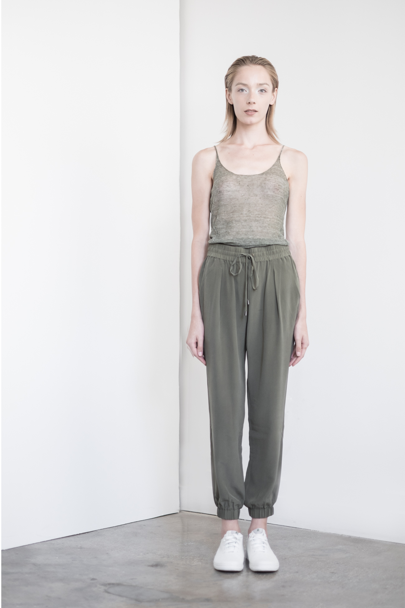 "LOOK 34   TOP:   2289  / Clover  -           0   0   2015-09-15T00:56:00Z   1   5   33   Rick Owens   1   1   37   14.0                       Normal   0             false   false   false     EN-US   JA   X-NONE                                                                                                                                                                                                                                                                                                                                                                               /* Style Definitions */ table.MsoNormalTable 	{mso-style-name:""Table Normal""; 	mso-tstyle-rowband-size:0; 	mso-tstyle-colband-size:0; 	mso-style-noshow:yes; 	mso-style-priority:99; 	mso-style-parent:""""; 	mso-padding-alt:0in 5.4pt 0in 5.4pt; 	mso-para-margin:0in; 	mso-para-margin-bottom:.0001pt; 	mso-pagination:widow-orphan; 	font-size:12.0pt; 	font-family:Cambria; 	mso-ascii-font-family:Cambria; 	mso-ascii-theme-font:minor-latin; 	mso-hansi-font-family:Cambria; 	mso-hansi-theme-font:minor-latin;}       Sleeveless fine gauge Italian linen.     WS:  58    BOTTOM:   2203  / Bone -    Jogger pants in 100% Silk.  WS:  123"