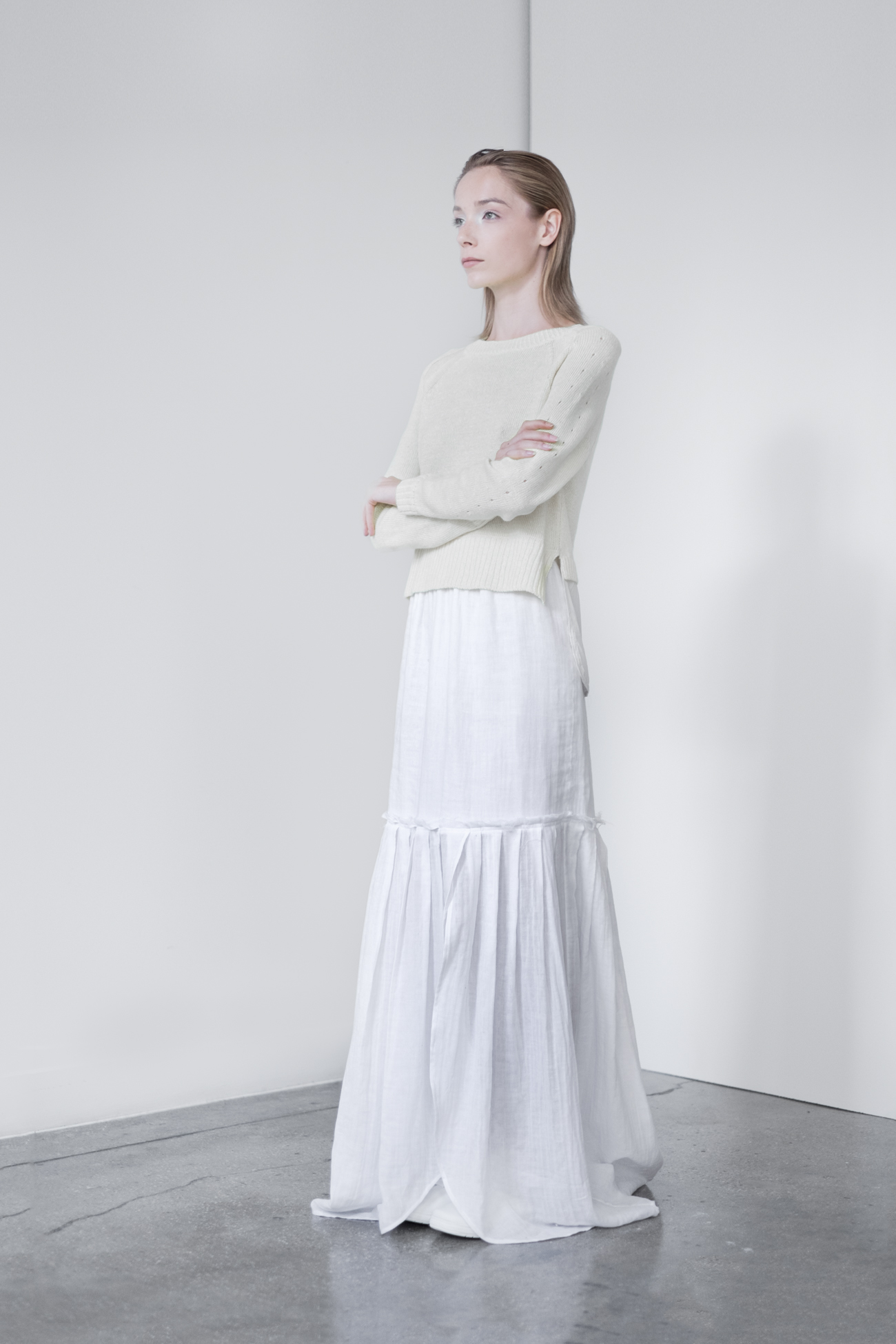 LOOK 9   TOP:  2260  / Bone   -     Crew neck pullover with Silk crepe de chine shirt tail.  WS: 129   BOTTOM:  2291  / Blanc -   Long maxi skirt also can be worn as strapless dress, in crinkle woven 2-layer cotton gauze.