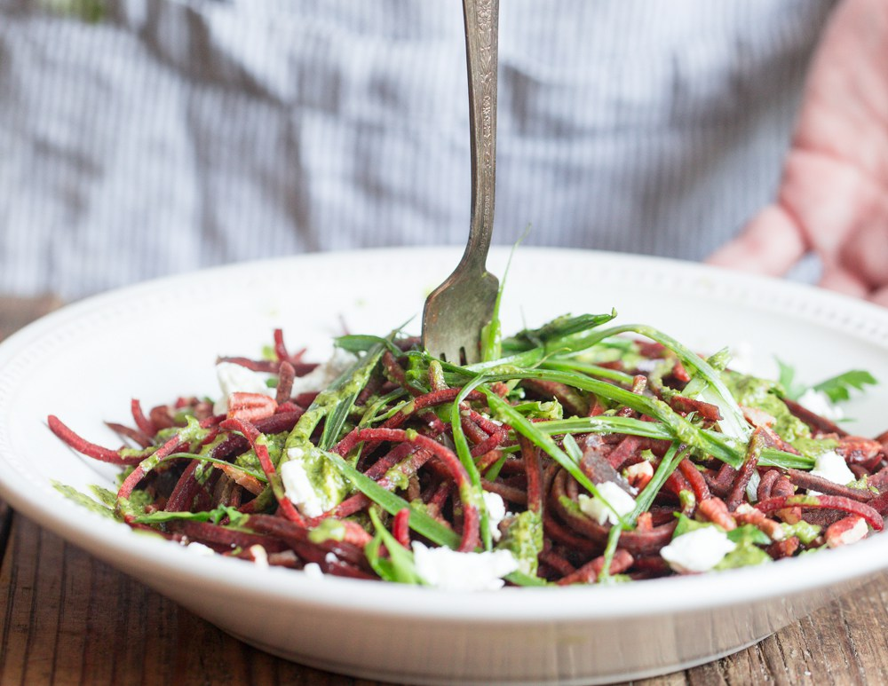 We love Veggie Noodle Co. so we featured their delicious Beet Noodle Salad for today's lunch. Photo by Veggie Noodle Co.