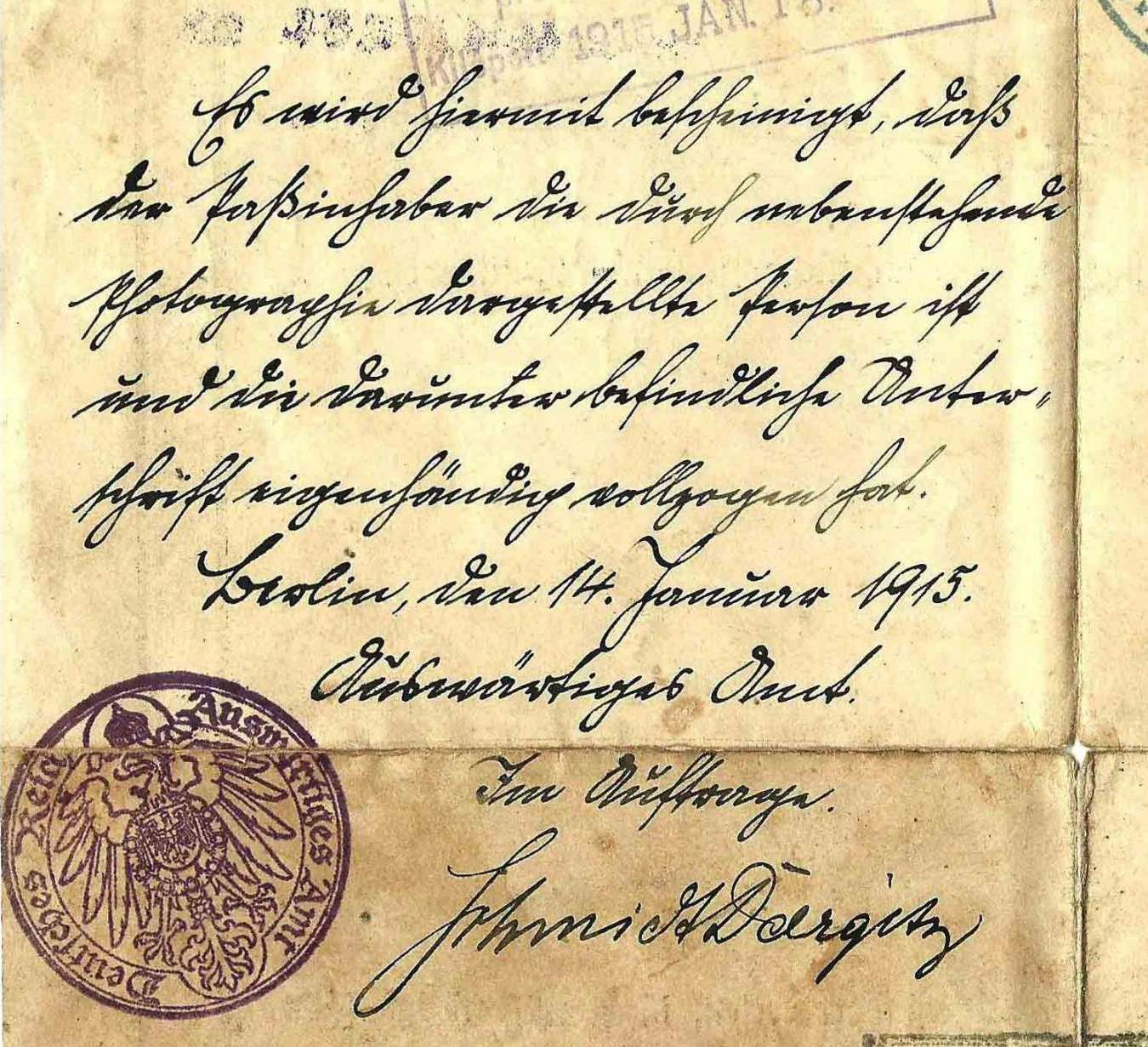 Confirmation of identity of passport holder (1915)