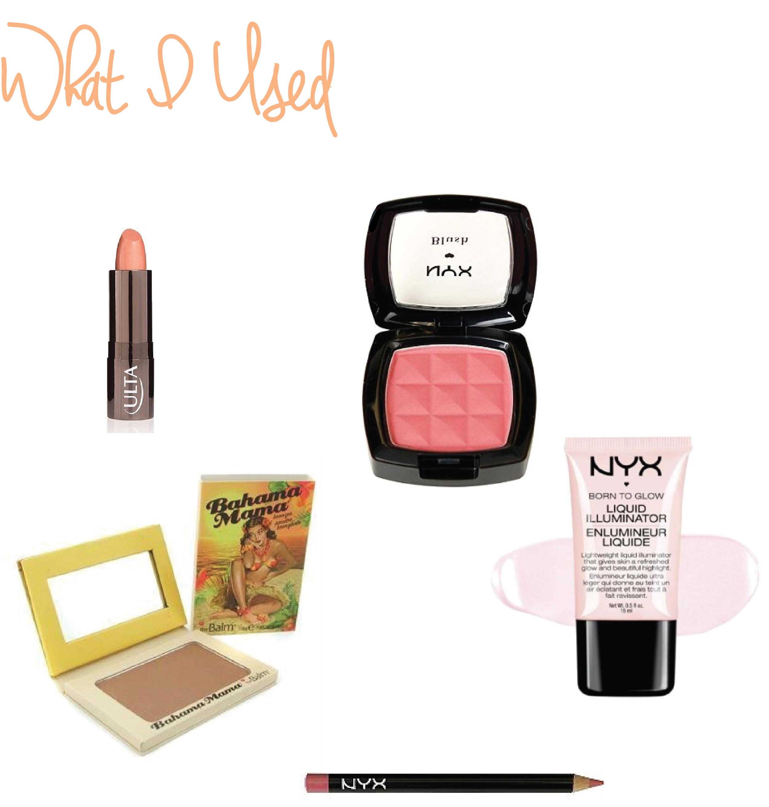 ULTA Brand Lipstick  in In the Buff • NYX Powder Blush  in Summer Peach •  Bahama Mama Bronzer  •  NYX Born to Glow Liquid Illuminator  •  NYX Lip Pencil  in Ever