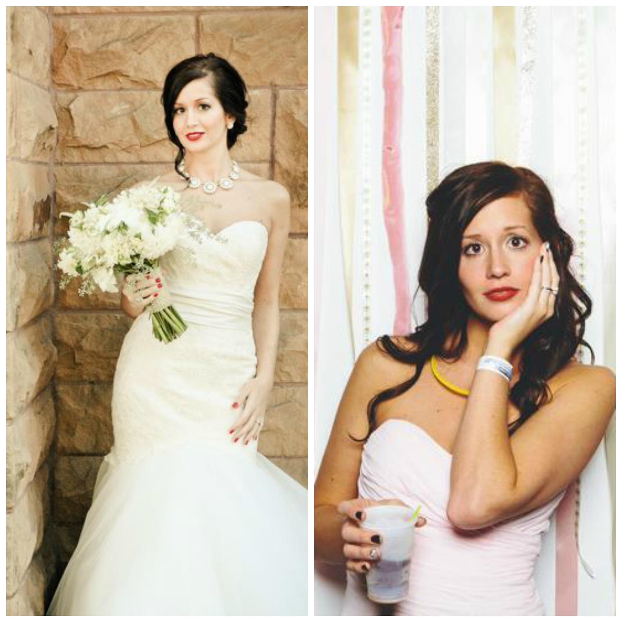 At her wedding last September, and in the photo booth at my wedding a month later.