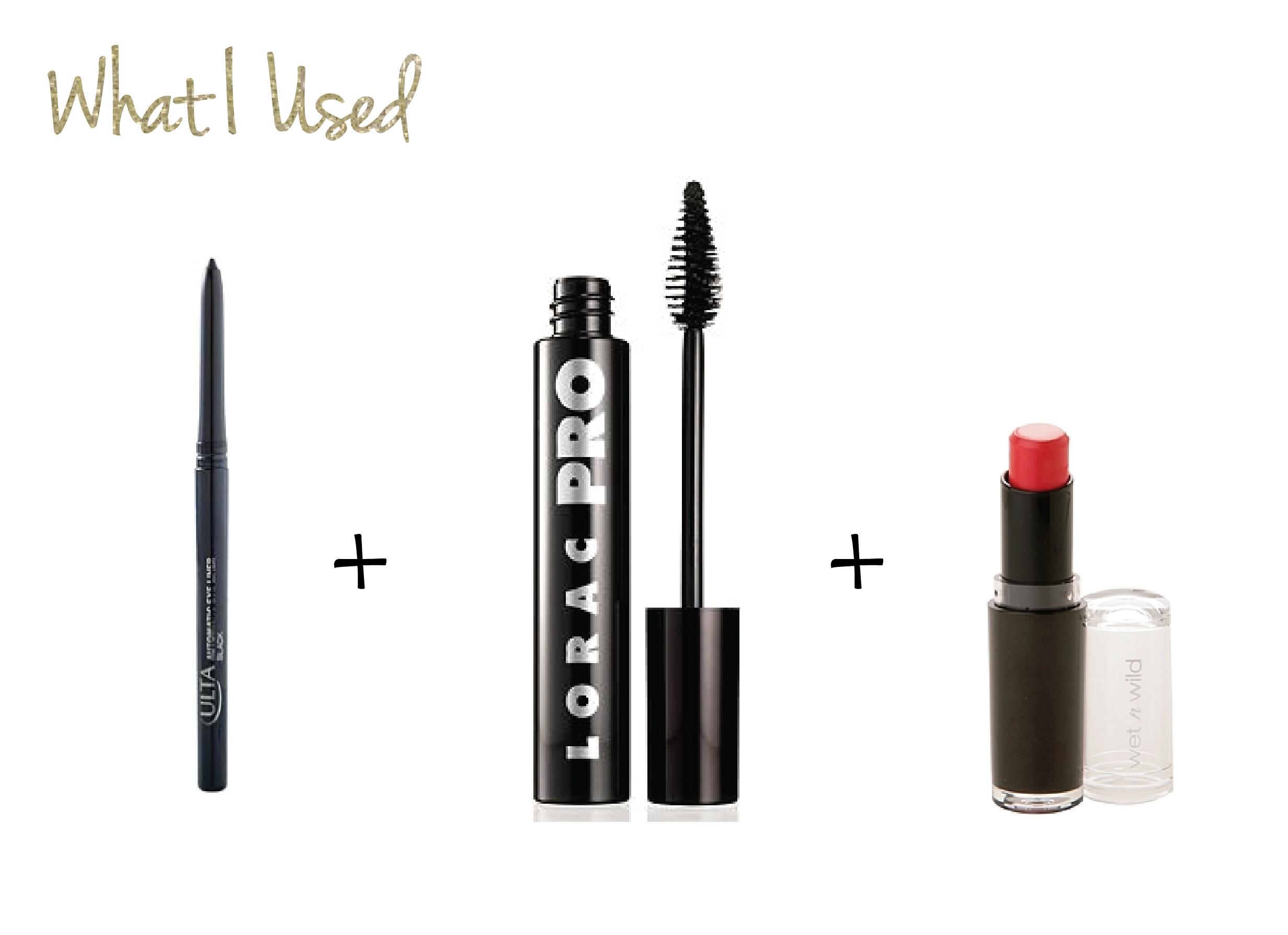 ULTA Automatic Eyeliner  in Black •  LORAC PRO Mascara  in Black °  Wet n Wild Lipstick  in Purty Persimmon