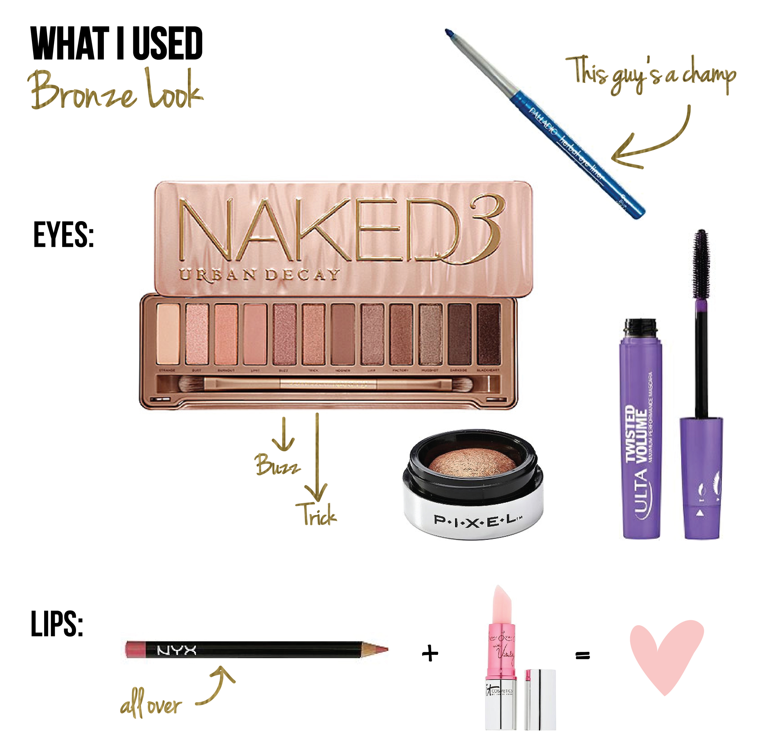 Eyes: Urban Decay Naked3 Palette (mostly Buzz & Trick with Dust around tear duct) •  Palladio Waterproof Liner  in Ocean Blue •  Pixel Baked Eyeshadow  in Gleaming •  ULTA Twisted Volume Mascara  in Black  Lips:  NYX Slim Lip Pencil  in Rose •  It Cosmetics Vitality Lip Flush  in Je Na Sais Quoi