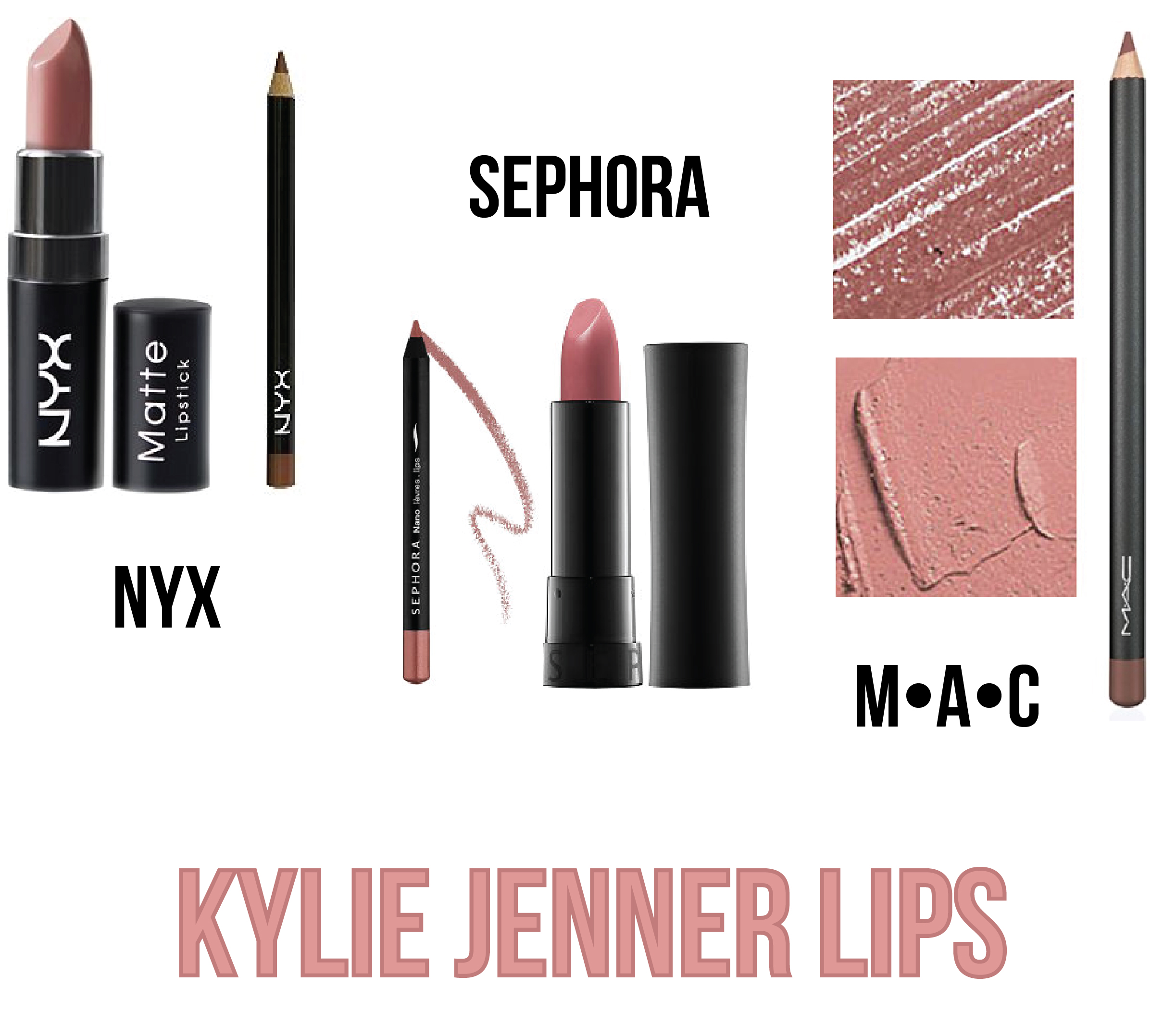 NYX Matte Lipstick in Whipped Caviar  +  NYX Slim Lip Pencil in Ever (or Mauve)  •  Sephora Collection Rouge Cream Lipstick in Mmm...17  +  Sephora Collection Nano Lip Liner in Radiant Rosy  •  MAC Lipstick in Faux  +  MAC Lip Pencil in Whirl (or Spice)