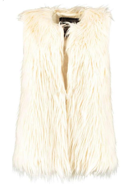 Boohoo Shaggy Mongolian Faux Fur Vest - $44
