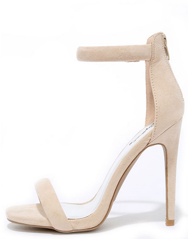 "Nude Suede Ankle Strap Heels   $29  (AMAZING dupe for the $80 Steve Madden ""Stecy"" heels!)"