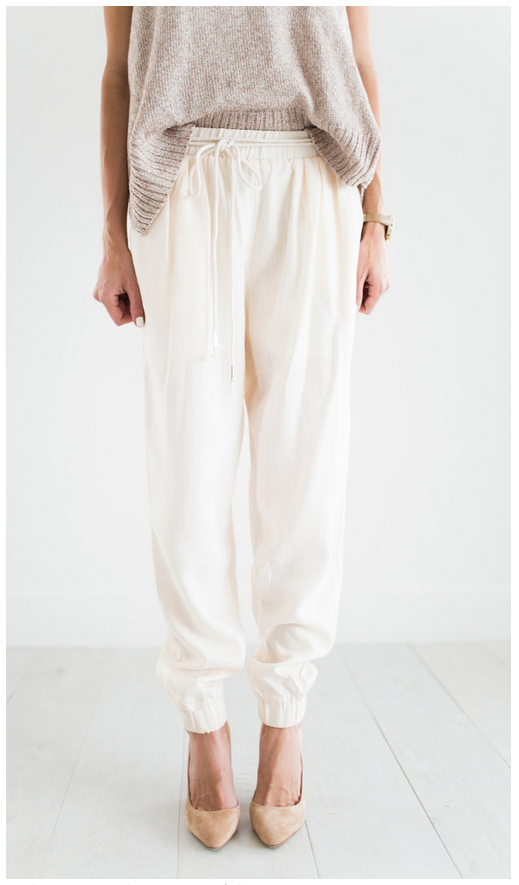 ILY Couture Ivory Linen Joggers   $106