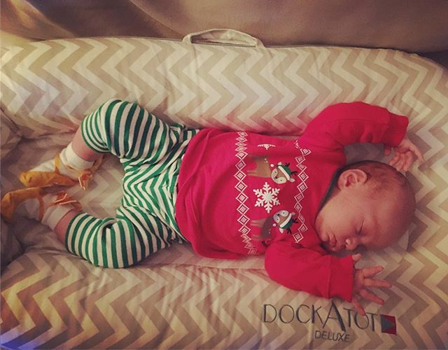 Our prima baby ballerina is patiently waiting for Santa @dockatot @m2quinn #babyoco #dockatotxmas