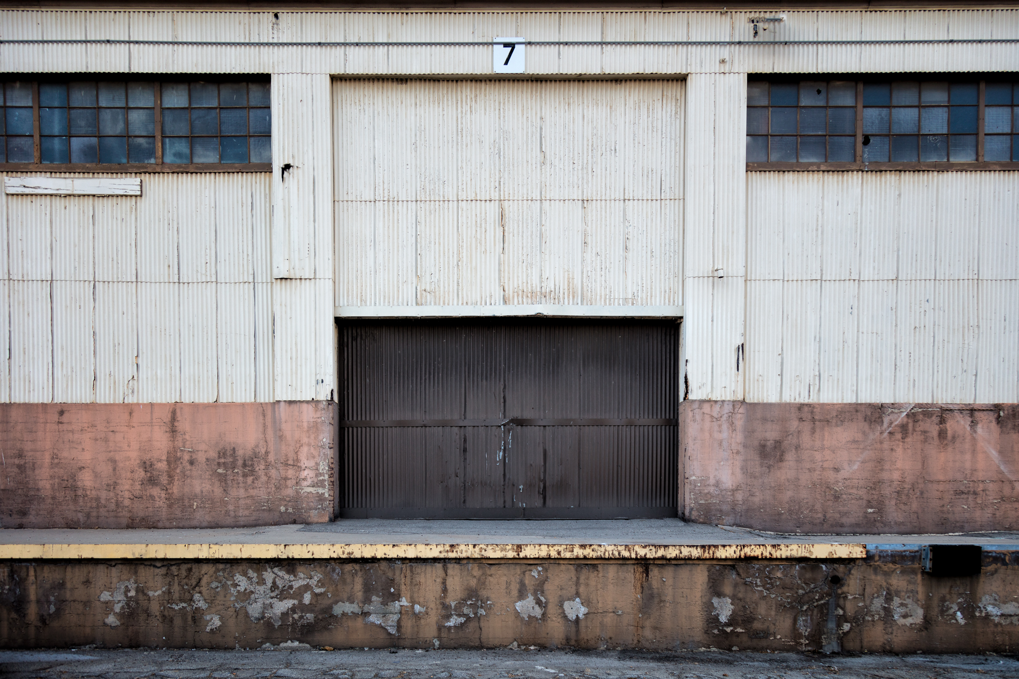 The first shot I took. I loved the textures and colors of these warehouse doors. There's a little story here, too, about access and history and utility.