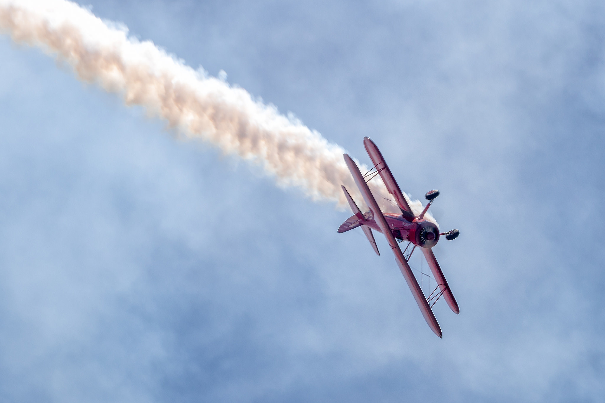 Dizzying biplane aerobatics courtesy of pilot Vicky Benzing and California Aeronautical  University